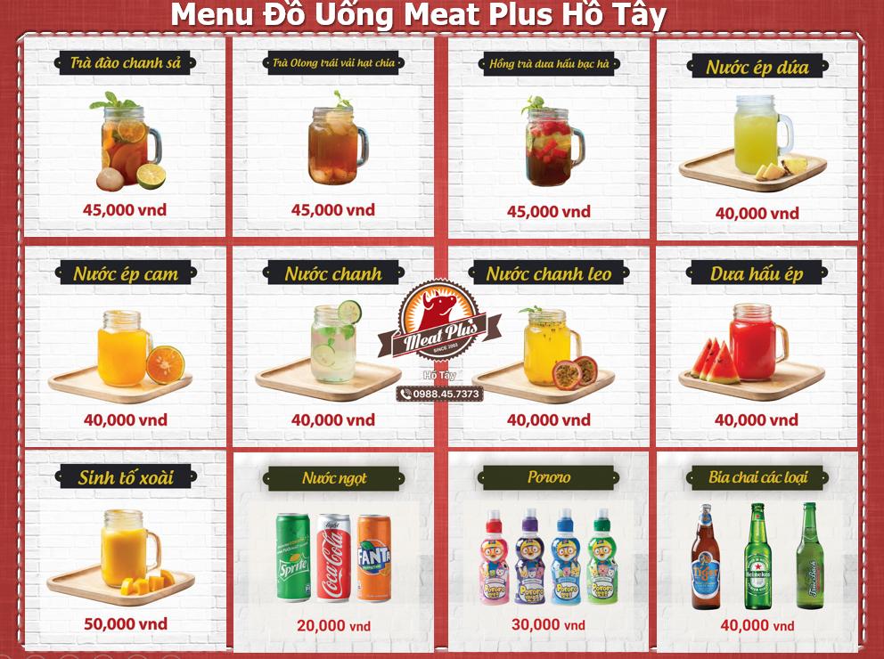 Menu đồ uống Meat Plus