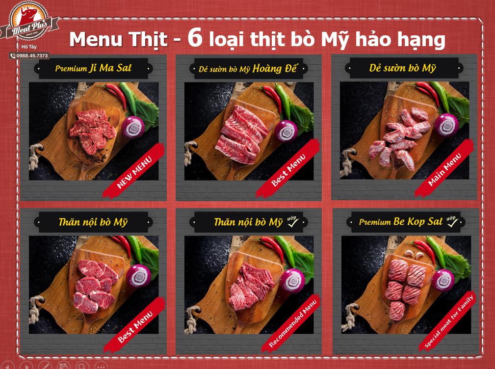 Menu Thịt Meat Plus với 6 loại thịt bò thượng hạng
