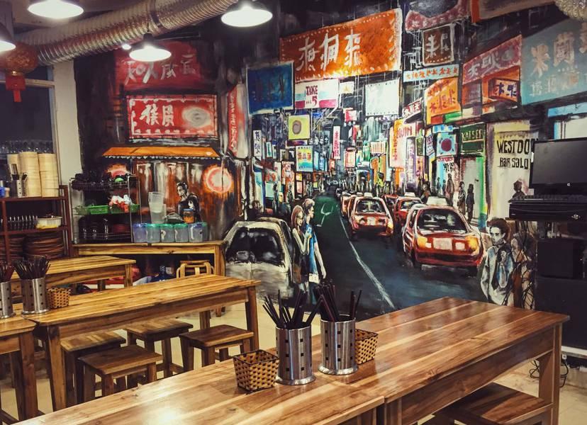 Không gian nhà hàng Yixin được thiết kế mang đậm phong cách Hồng Kông thời hiện đại.